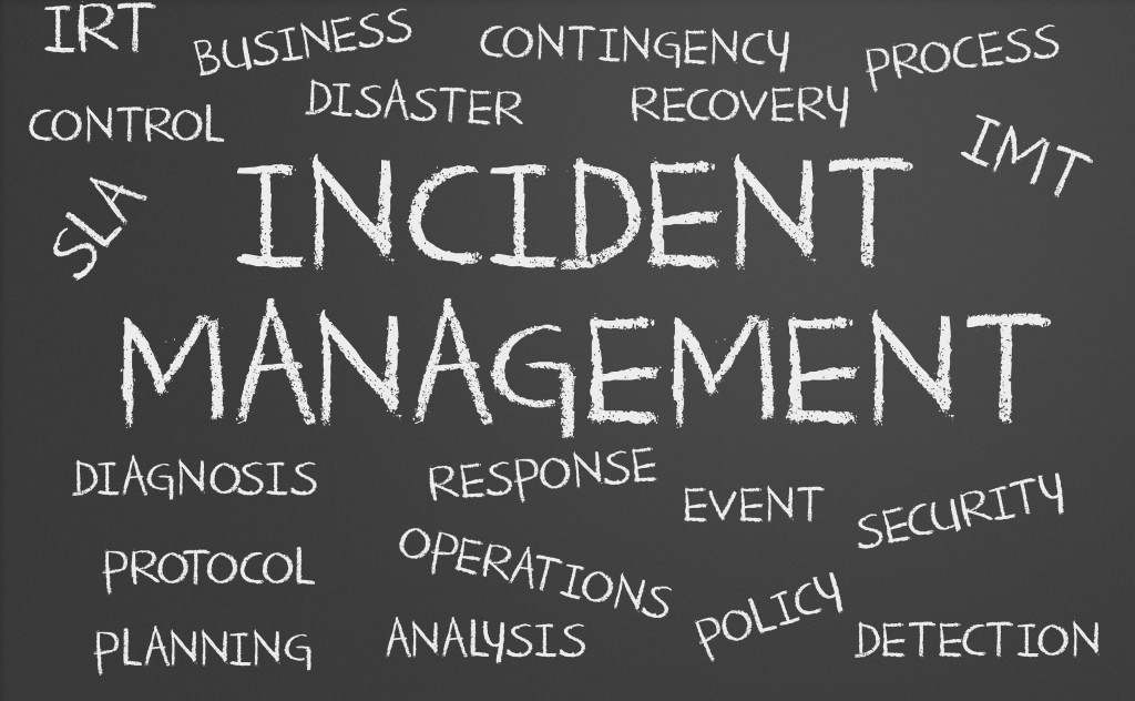 Incident Management word cloud: business, disaster, contingency, recovery, SLA, diagnosis, planning, analysis, policy, security, detection, control, operations,event, monitoring features